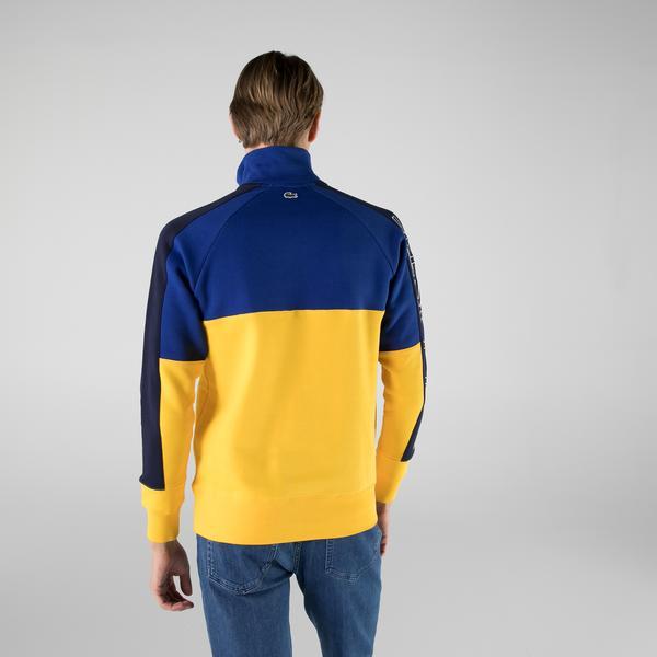 Lacoste Erkek Regular Fit Yarım Fermuarlı Renk Bloklu Mavi Sweatshirt
