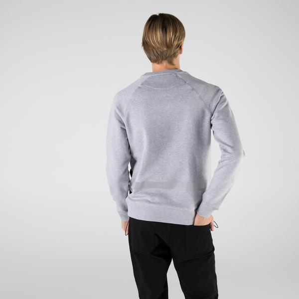 Lacoste Erkek Regular Fit Bisiklet Yaka Renk Bloklu Gri Sweatshirt