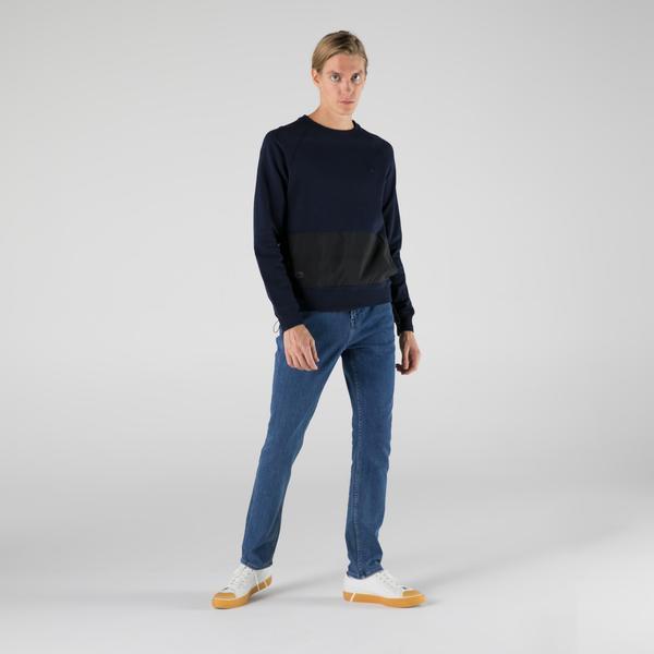 Lacoste Erkek Regular Fit Bisiklet Yaka Renk Bloklu Lacivert Sweatshirt