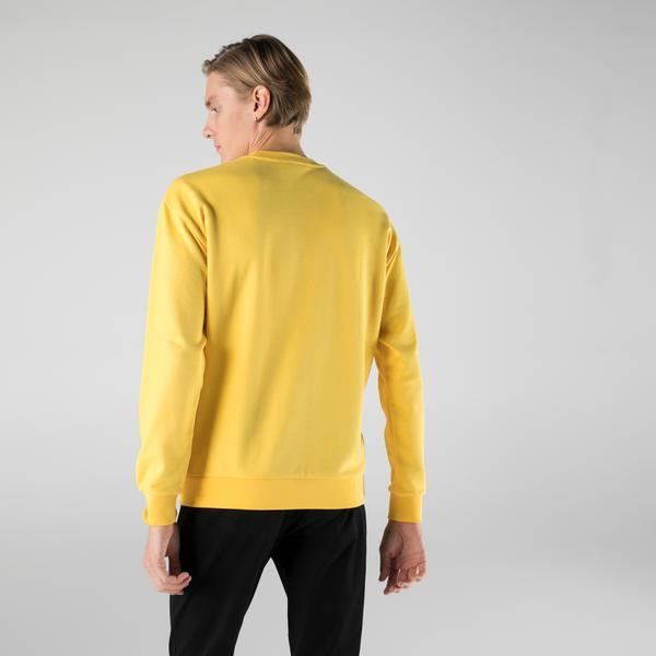 Lacoste Erkek Slim Fit Bisiklet Yaka Baskılı Sarı Sweatshirt