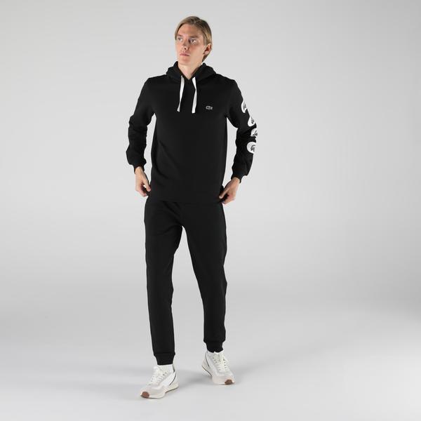 Lacoste Erkek Classic Fit Kapüşonlu Baskılı Siyah Sweatshirt