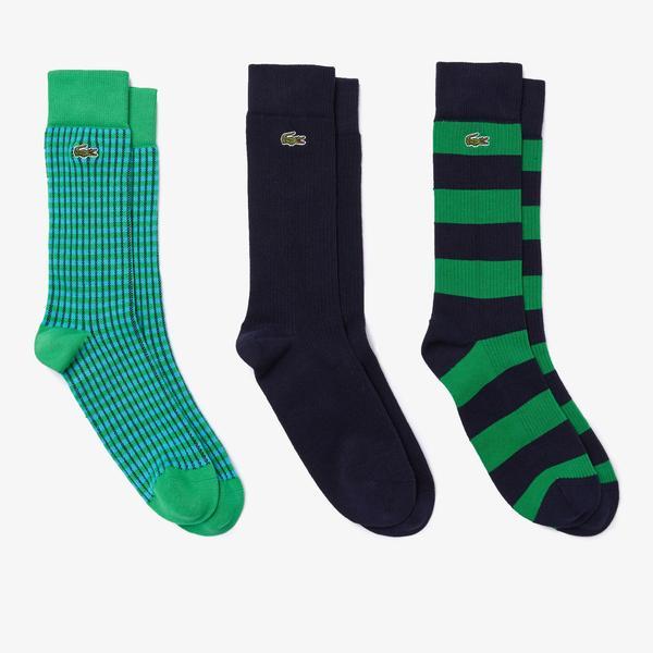 Lacoste Erkek Uzun Desenli 3'lü Renkli Çorap