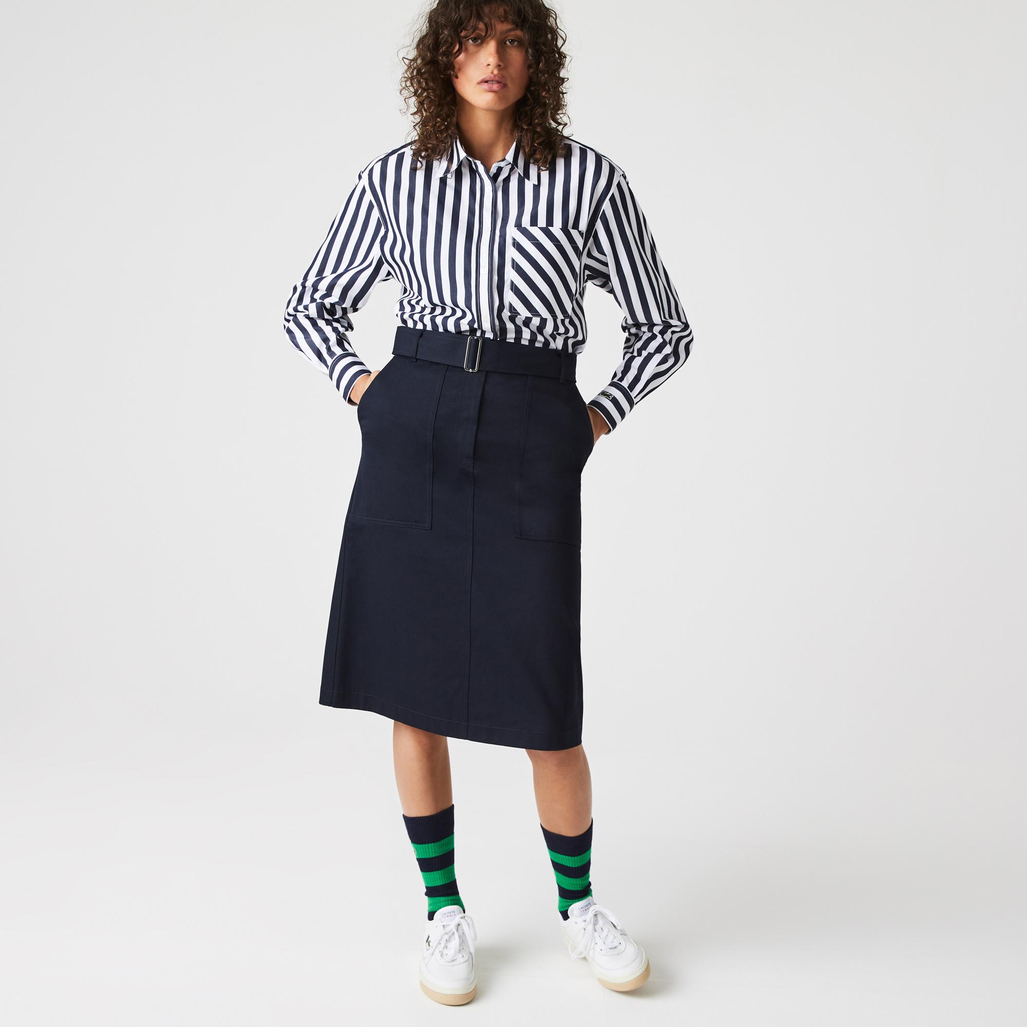 Lacoste Kadın Relaxed Fit Oversize Çizgili Lacivert Gömlek