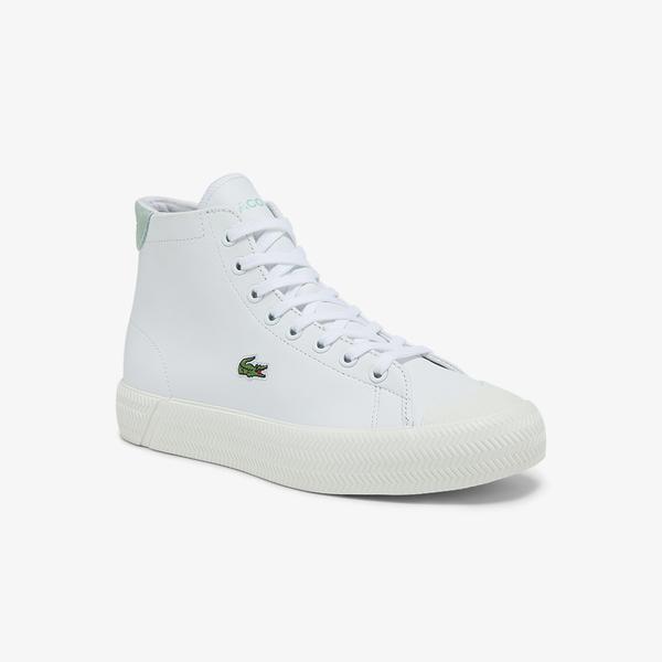 Lacoste Gripshot Mid 0321 1 Cfa Kadın Deri Beyaz - Açık Yeşil Sneaker
