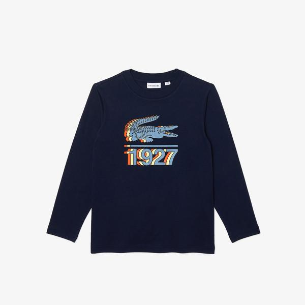 Lacoste Erkek Çocuk Uzun Kollu Bisiklet Yaka Baskılı Lacivert T-Shirt