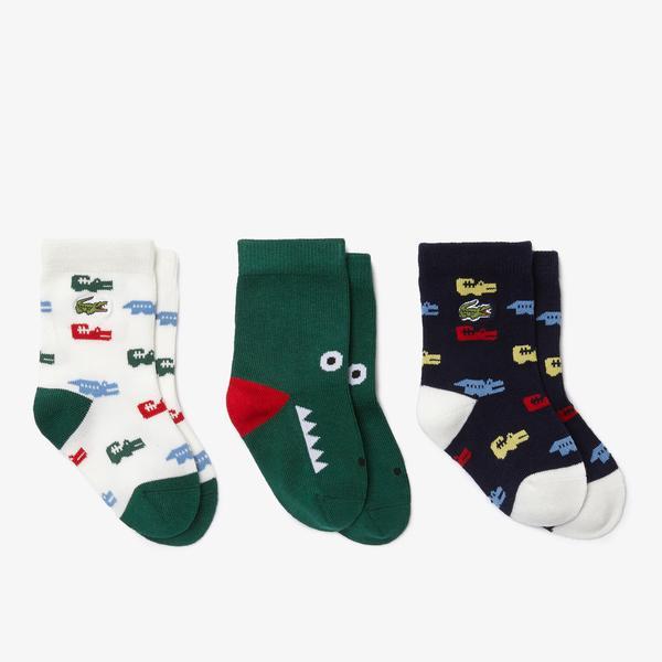 Lacoste Erkek Çocuk Baskılı 3'lü Renkli Çorap