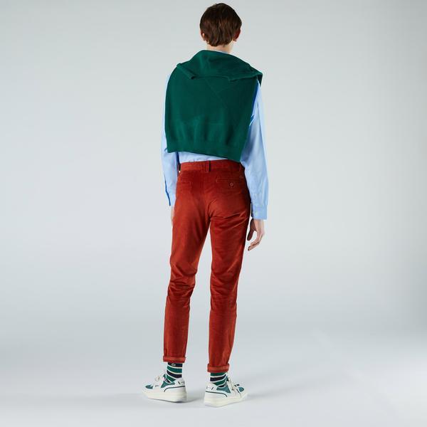 Lacoste Erkek Regular Fit Kadife Turuncu Pantolon